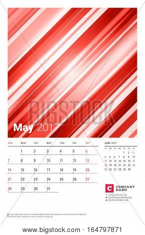 May 2017. Wall Monthly Calendar For 2017 Year. Vector Design Print Template With Abstract Red Backgr