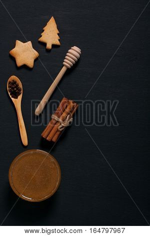 Baking Background With Cookies, Honey, Spices And Spoons.