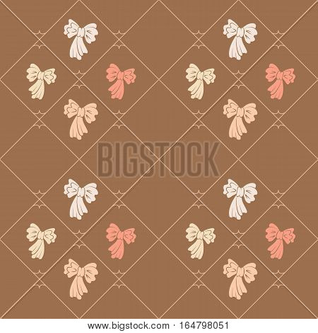 Seamless geometric baby pattern. Texture of diagonal strips, lines, bows. Soft orange, white, rose figures on brown background. Children, hipster colored. Vector