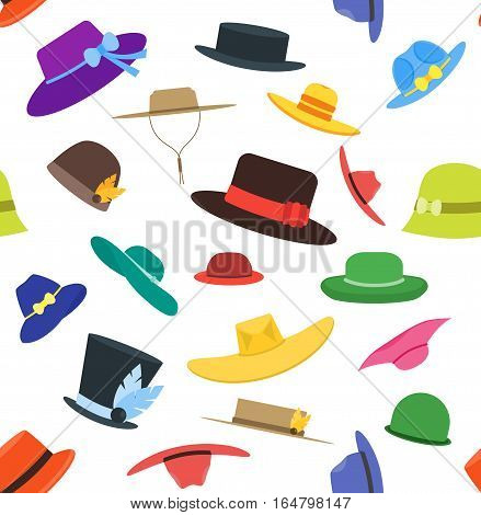 Color Hats Set Fashion for Men and Women Background Pattern. Flat Design Style. Vector illustration