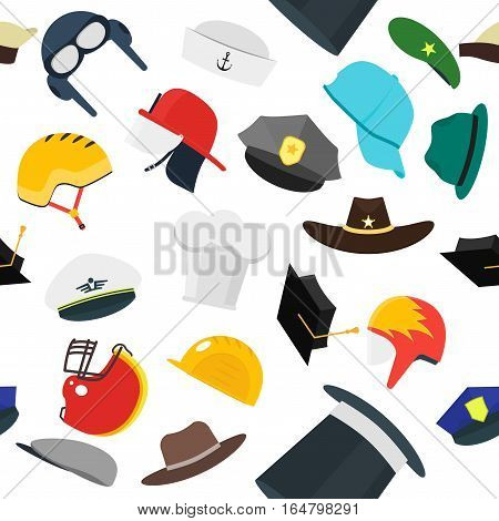 Hats for Men Set Fashion Background Pattern. Flat Design Style. Vector illustration