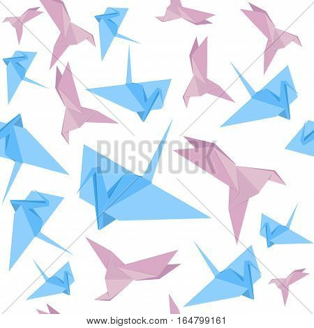 Origami Paper Crane Background Pattern Japan Craft Cute Birds. Vector illustration