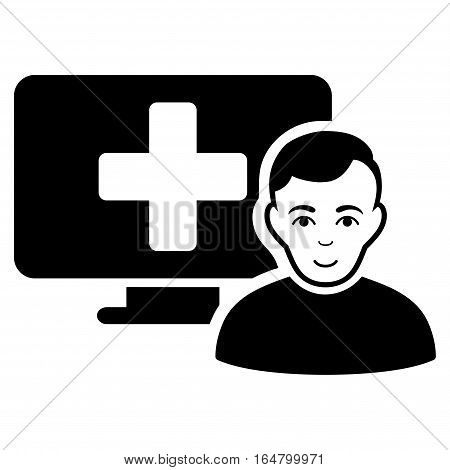 Online Medicine vector icon. Flat black symbol. Pictogram is isolated on a white background. Designed for web and software interfaces.