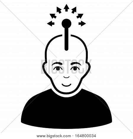Optical Neural Interface vector icon. Flat black symbol. Pictogram is isolated on a white background. Designed for web and software interfaces.