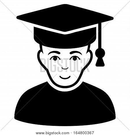 Professor vector icon. Flat black symbol. Pictogram is isolated on a white background. Designed for web and software interfaces.
