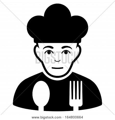 Sad Cook vector icon. Flat black symbol. Pictogram is isolated on a white background. Designed for web and software interfaces.