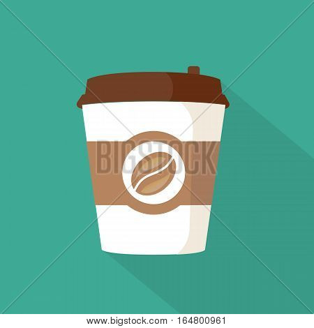 Coffee to go paper cup. Coffee icon on a blue background. Takeaway coffee package. Vector illustration