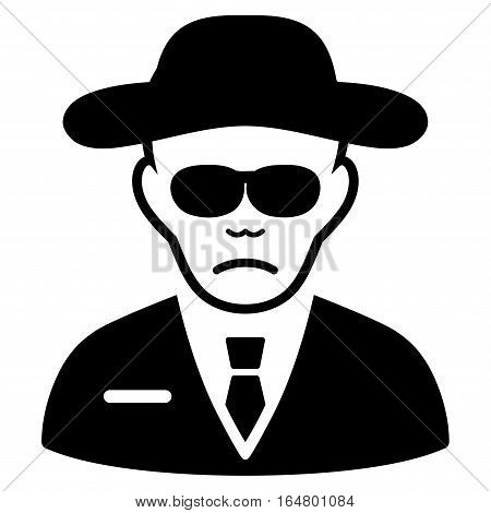 Security Agent vector icon. Flat black symbol. Pictogram is isolated on a white background. Designed for web and software interfaces.
