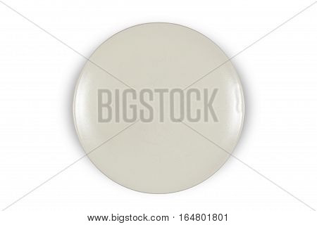 Flat off white shallow plate on white background directly from above