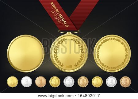 Vector gold, silver and bronze award medals set. Vector EPS10 illustration.