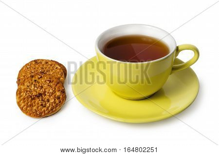 Cup Of Tea And Biscuits With Nuts