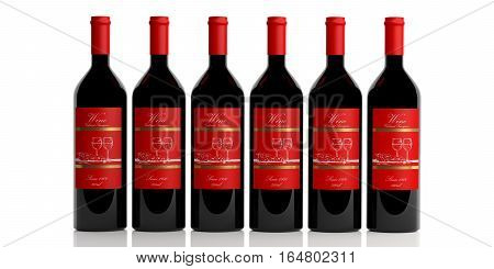 3D Rendering Bottles Of Red Wine On White Background