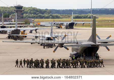 EINDHOVEN THE NETHERLANDS - SEP 17 2016: Paratroopers entering their planes for a jump at the Market Garden Memorial.
