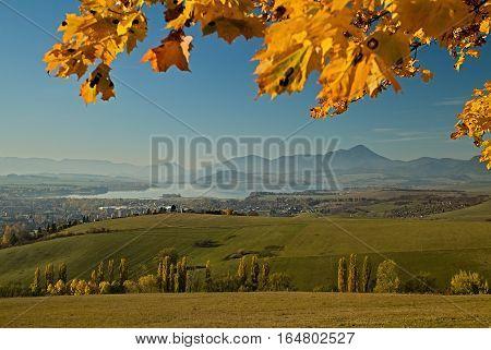 View from Haj-Nicovo on dam Liptovska Mara and town Liptovsky Mikulas.