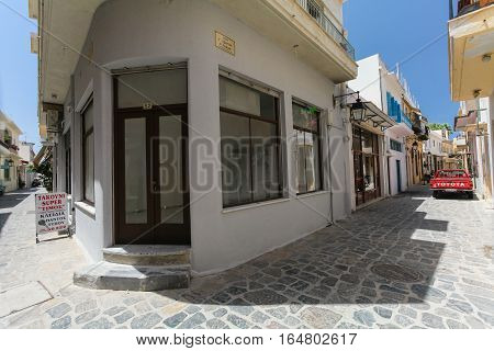 Rethymnon, Island Crete, Greece - July 1 2016: Store after renovation on the narrow streets of Rethymnon (part of Old Town)