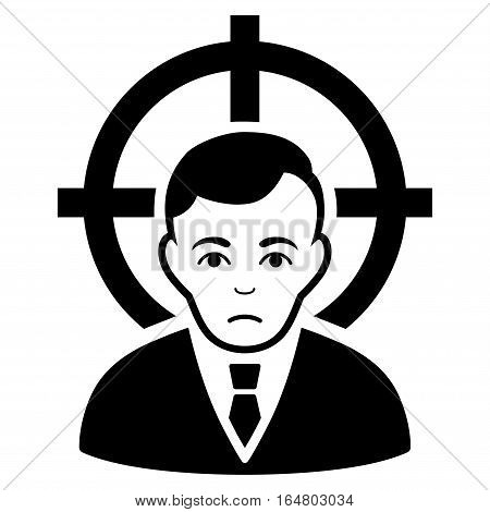 Victim Businessman vector icon. Flat black symbol. Pictogram is isolated on a white background. Designed for web and software interfaces.