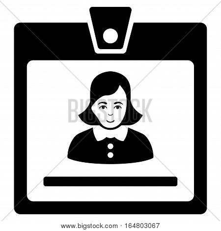 Woman Badge vector icon. Flat black symbol. Pictogram is isolated on a white background. Designed for web and software interfaces.