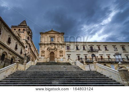 Stairs in front of Church of Saint Francis of Assisi in Noto city Sicily in Italy
