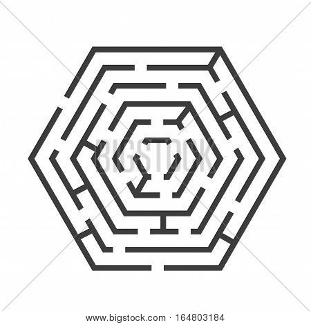 Labyrinth or Maze Hexagon Shape for Business, Game, Books, Leisure. Vector illustration