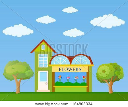 Colorful flower shop building front view on nature background vector illustration