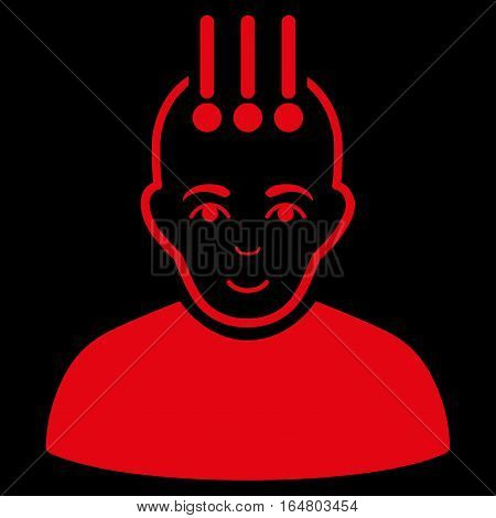 Neural Interface vector icon. Flat red symbol. Pictogram is isolated on a black background. Designed for web and software interfaces.