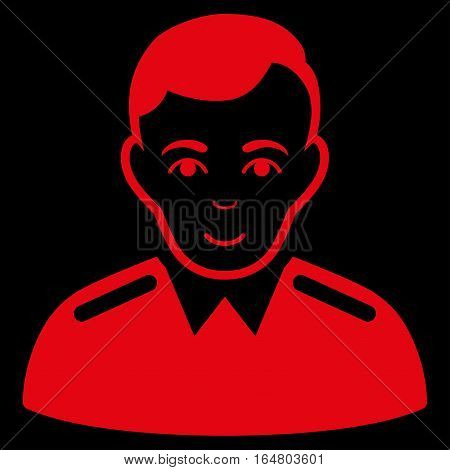 Officer vector icon. Flat red symbol. Pictogram is isolated on a black background. Designed for web and software interfaces.