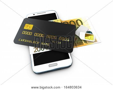 3D Illustration Of Detailed Black Locked Credit Card On The Phone With Simcard Isolated White Backgr