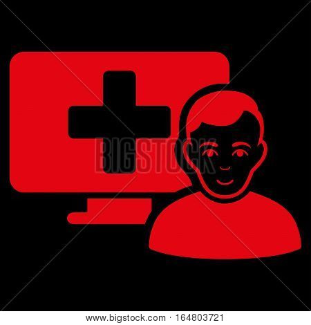 Online Medicine vector icon. Flat red symbol. Pictogram is isolated on a black background. Designed for web and software interfaces.