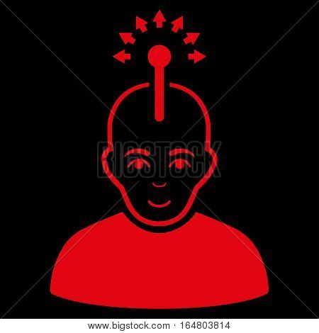 Optical Neural Interface vector icon. Flat red symbol. Pictogram is isolated on a black background. Designed for web and software interfaces.