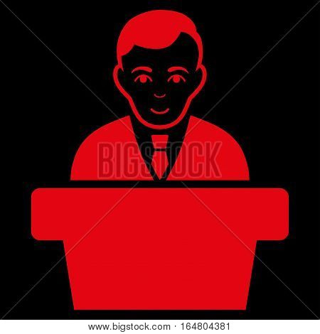 Politician vector icon. Flat red symbol. Pictogram is isolated on a black background. Designed for web and software interfaces.