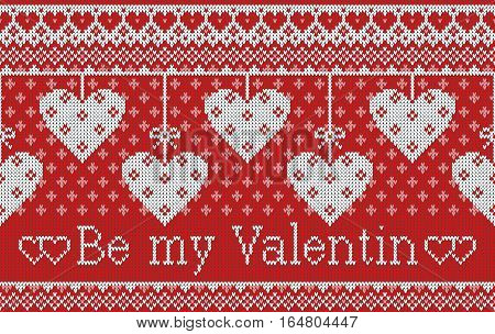 Seamless pattern on the theme of holiday Valentine's Day with an image of the Norwegian and fairisle patterns. Hearts hang on bows on a red background. Wool knitted texture. Vector Illustration