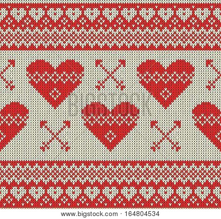 Seamless pattern on the theme of holiday Valentine's Day with an image of the Norwegian and fairisle patterns. Hearts and arrows on a bright background. Wool knitted texture. Vector Illustration