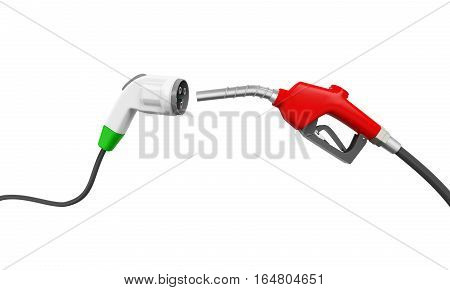 Electric Vehicle Charging Plug and Gas Nozzle isolated on white background. 3D render
