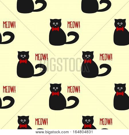 Funny cat with round eyes and a bow. Text Meow! Seamless pattern. Yellow red black.