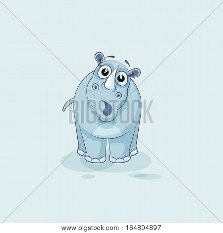 Vector Stock Illustration isolated emoji character cartoon rhinoceros surprised with big eyes sticker emoticon for site, info graphics, video, animation, websites, mail, newsletters, reports, comic