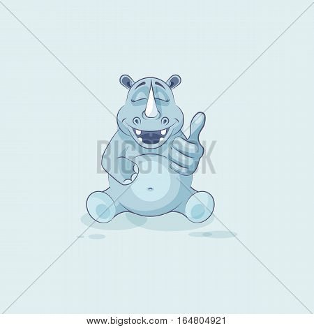 Vector Stock Illustration isolated emoji character cartoon rhinoceros approves with thumb up sticker emoticon for site, info graphics, video, animation, websites, mails, newsletters, reports, comics