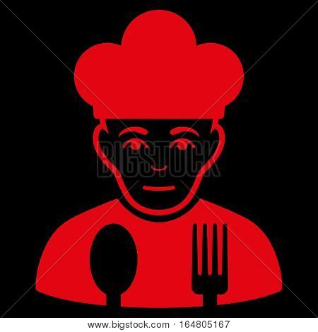 Sad Cook vector icon. Flat red symbol. Pictogram is isolated on a black background. Designed for web and software interfaces.