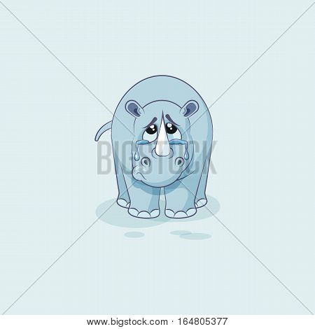 Vector Stock Illustration isolated emoji character cartoon sad and frustrated rhinoceros crying, tears sticker emoticon for site, info graphic, video, animation, website, mail, newsletters, report