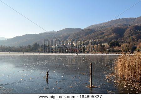 Fun on the ice - Lake Endine - Bergamo - Lombardy - Italy