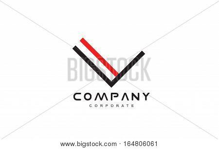 Line lineart letter v vector logo icon sign design template