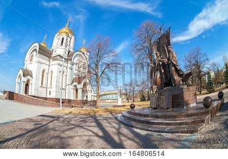 SAMARA RUSSIA - APRIL 9 2016: Monument to the russian orthodox saints Peter and Fevronia of Murom patrons of the family and marriage