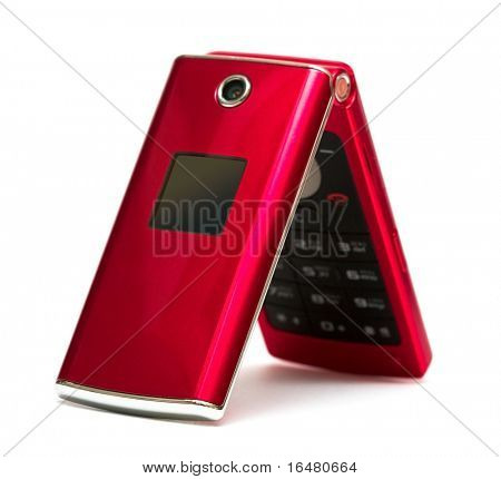 mobile phone over white background
