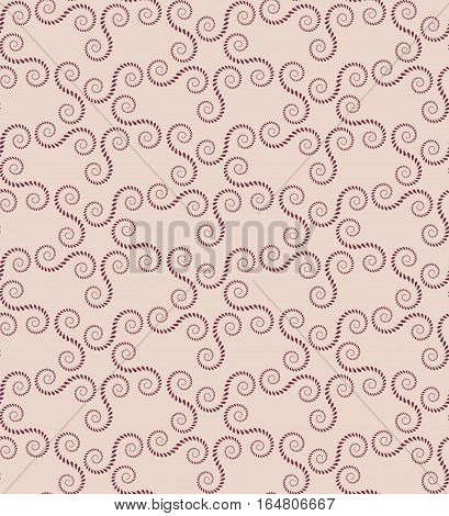 Spiral seamless lace pattern. Vintage abstract texture. Volute, twirl figures of laurel leaves. Brown, beige contrast colored background. Vector poster