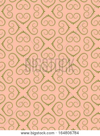 Seamless lace pattern. Vintage curled texture. Swirl silhouettes floral heart signs. Twist ornament of laurel leaves. Rosy green soft colored background. Love, birthday, sale theme. Vector
