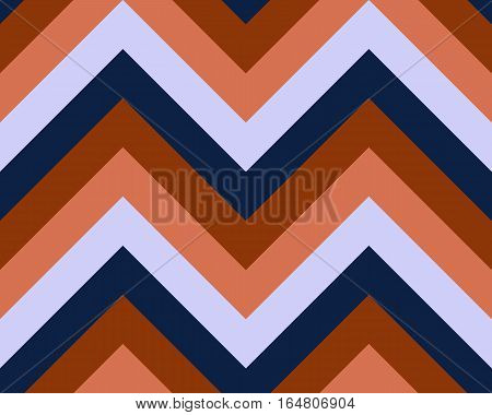 Striped, zigzagging seamless pattern. Zig-zag line texture. Stripy geometric background. Orange, blue contrast colored. Vector