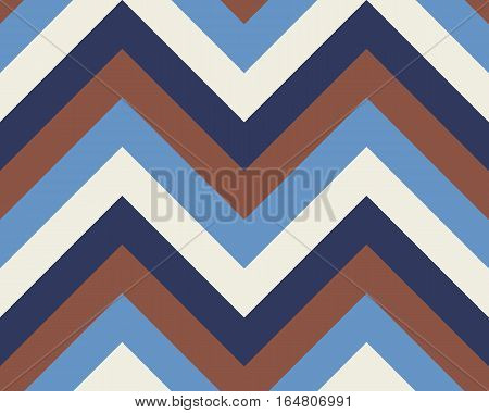 Striped, zigzagging seamless pattern. Zig-zag line texture. Stripy geometric background. Blue, brown, white contrast colored. Winter theme. Vector