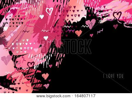 Elegant grunge red background with hearts and place love text. Valentine Day love greeting card. Corner design. Vector illustration stock vector.