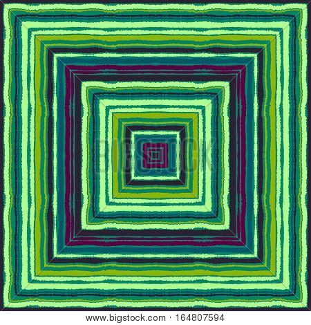 Striped rectangle pattern. Square lines with torn paper effect. Ethnic background. Purple, turquoise, green contrast colors. Vector