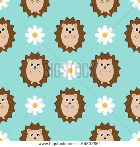 Smiling hedgehog and daisy flower. Seamless pattern. Blue background. Template for children's clothing and bedding.