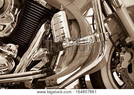 Vintage Closeup With Motorcycle. Beautiful Veteran Motorcycle Headlights Details..